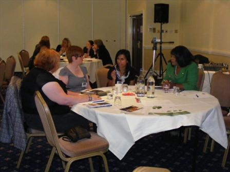 Sandra taking part in group discussion