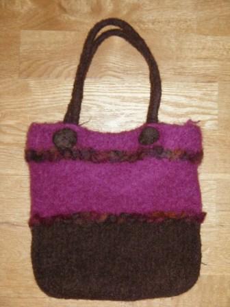 Pink & Brown Wool Felted Hand bag - £20